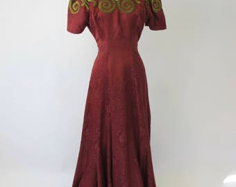 1940s Burgundy Silk Gold Bullion Embroidered Gown 24 ft Sweep