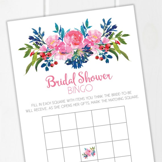 Bridal Shower Bingo / Bridal Shower Party / Bridal Shower Games / Printable / Printable Bingo Card / Floral Bridal Shower / Instant Download