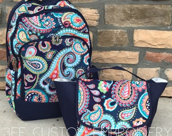 Pink Tile or Multi Paisley Backpack and Lunch bag with FREE Monogramming, Back to School, Girls Backpack and Lunch bag Set