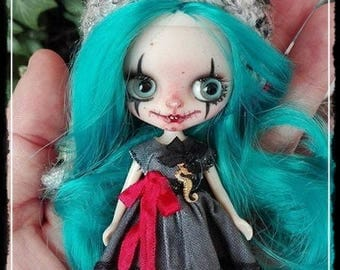 Custom Blythe Dolls For Sale by EPHIE  Petite Blythe Gothic clown custom doll by Antique Shop Dolls