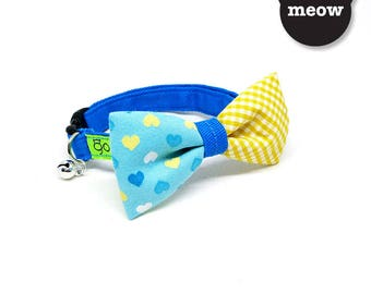 VDAY GOOOD Cat Collar   Mighty Bow - Mr Heartful   100% Pattern Yellow & Blue Cotton Fabric   Safety Breakaway Buckle Active