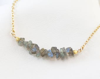Labradorite Dainty Choker Necklace, Gemstone Bar Necklace, Layering Necklace, Minimalist Necklace, Handmade Necklace, Gift for Her, Unique