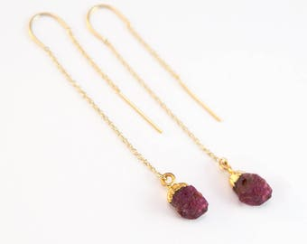 Raw Ruby July Birthstone Earrings, Rough Natural Gemstone Threaders, 14k Gold Filled Ear Threaders, Birthday Gift, Gift for Girlfriend, Boho
