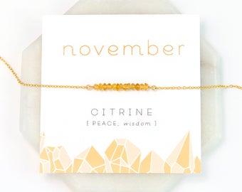 November Birthstone Necklace, Citrine Bar Necklace, Raw Crystal Necklace, Tiny Citrine Stones, Healing Gift, Inspirational Jewelry, Birthday