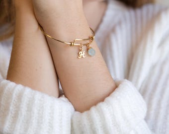 Personalized Christmas Gift, Birthstone and Initial Bangle Bracelet, Monogram Gift, Gift for Best Friend, Raw Crystal, Gold Initial Bracelet