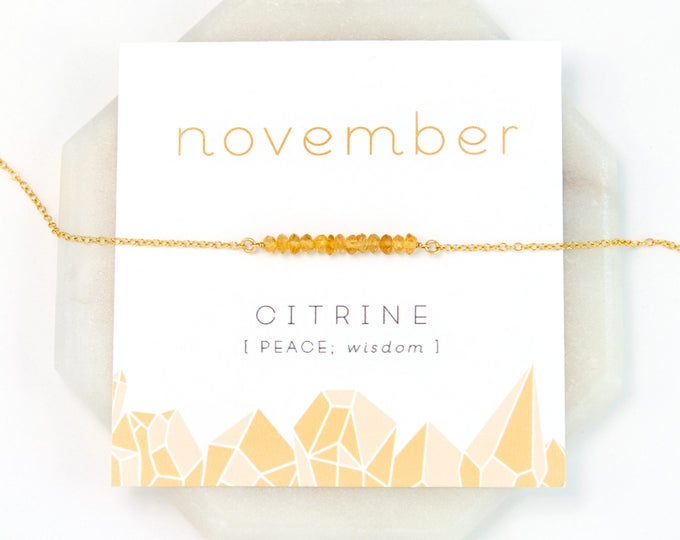 Featured listing image: November Birthstone Necklace, Citrine Bar Necklace, Raw Crystal Necklace, Tiny Citrine Stones, Healing Gift, Inspirational Jewelry, Birthday