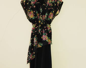 Vintage 80s Black and Rainbow Floral Dress Cute Summer with Y