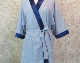 Tiny Whales Dressing Robe // Cotton & Satin Robe in Blue