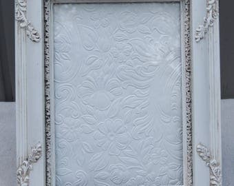 vintage 5 x 7 white frames with glass and easel back ornate floral white frame - White Vintage Picture Frames