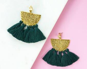 Emerald Green Fringe Earrings, Tassel Statement Earrings, Boho Earrings, Modern Earrings, Drop Earrings, Green Earrings, Gifts for her