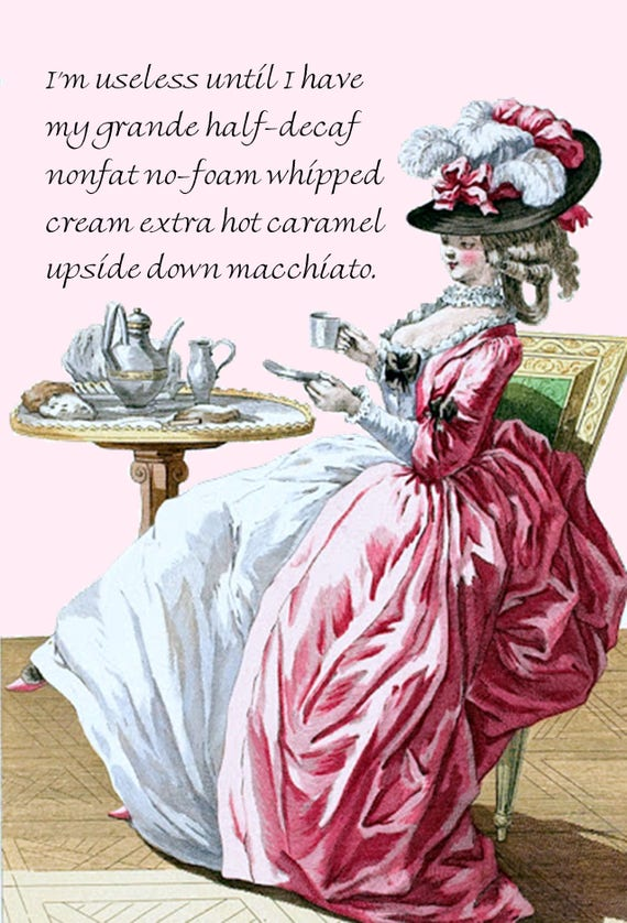 Marie Antoinette. Coffee Postcard. Coffee Card. Gift For Her.Let Them Eat Cake. Marie Antoinette Dress. Marie Antoinette Wig. Funny Postcard