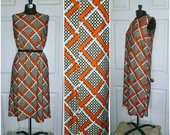 New neighbors .... Vintage 60s day dress / 1960s sleeveless shift / mod abstract geometric / twiggy mad men .. M bust 38