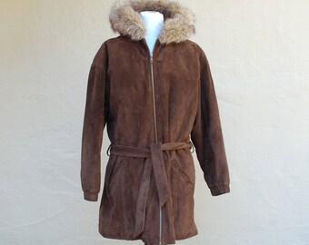 Vintage Womens Medium Wilsons Leather Jacket Long Oversized Coat Hooded Zippered Faux Fur Brown Suede  Adventure Bound Originals Parka Snow