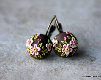 Lovely Polymer Clay Applique Statement Earrings in Chocolate and Pink
