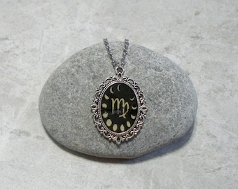 Moon Phases Necklace Virgo Pendant Jewelry