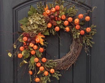 Fall Wreath-Autumn Wreath-Thanksgiving-Green Berry-Grapevine Door Wreath-Pumpkin Vines-Acorns-Pinecones-Indoor/Outdoor Decor