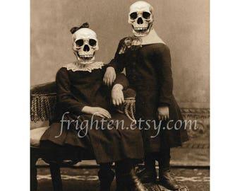 Halloween Wall Decor, Skull Art Print, 8.5 x 11 Inch Print, Creepy Wall Art, Victorian Children, Horror Decor