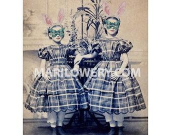 Victorian Girls Art, 8.5 x 11 Inch Print, Mixed Media Collage, Unusual Art Print, Girls in Rabbit Ears, Buttefly Masks, Girlie Decor