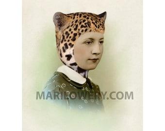 Retro Wall Art Altered Portrait Woman in Leopard Cat Ears Hat Mixed Media Collage 8.5 x 11 inch Print, Unusual Portrait