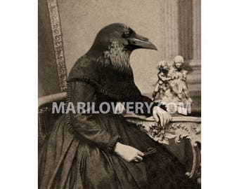 Raven Art, Halloween Decor, 8.5 x 11 inch Print, Gothic Decor, Dark Art, Anthropomorphic, Mourning, Oddities