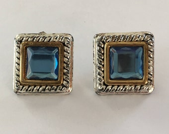 Azure blue crystal - silver and gold square studs - chic vintage - post pierced earrings - classic jewelry - 90s - Free shipping Canada USA