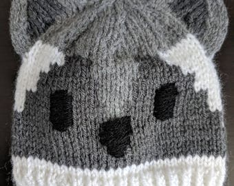 Knit Raccoon Baby Hat Pattern