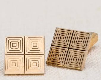 Gold Cuff Links Square Swank Vintage Cufflinks Mens Accessory Patterned 7UU