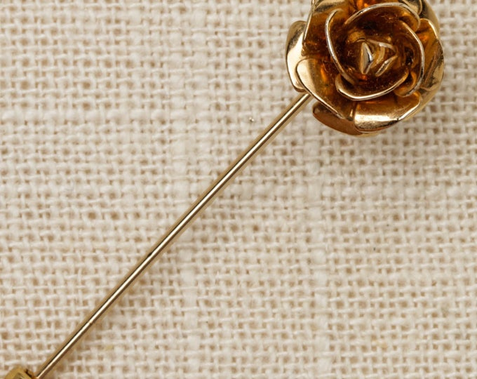 Gold Rose Stick Pin Flower Vintage Stickpin 7R