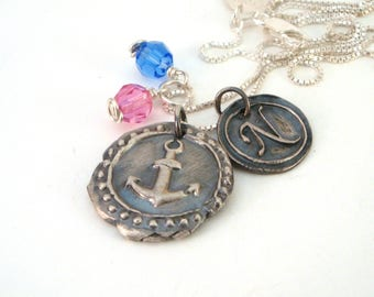 Delta Gamma Anchor Wax Seal Necklace with Initial / DG Sorority Jewelry / Sorority Wax Seal Necklace / Delta Gamma Anchor Necklace
