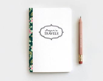 Personalized Travel Journal & Pencil Set, Spring Floral Journal, Illustrated Personalized Journal Sketchbook Notebook