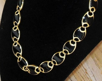 Necklace Black and Gold Links Mid Century Minimalist Toggle Clasp Vintage Jewelry Wedding Bridal Party Prom Gift Guide Women