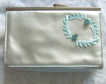 Purse Silver Gray with Aqua Trim Bridal Party Wedding Restyled Assemblage Gift