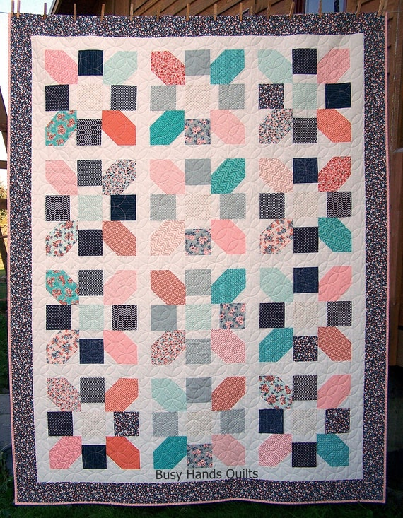 Ready to Ship Twin Quilt Modern Quilt Sweet Floral Quilt : floral quilts for sale - Adamdwight.com
