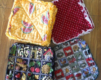 Pair of Rag Quilted Fabric Pot Holders 4 prints to choose from (Group C) Watermelon,, Red Calico, Mary Engelbreit, & Country Farm