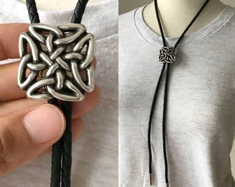 Bolo Tie Concho Celtic Square Knot Antique Finish Faux Leather Rope Western Cowboy Cowgirl Unisex
