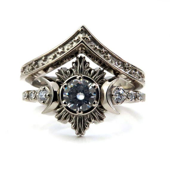 Celestial Bohemain Engagement Ring Set - Moissanite or Diamond Moon Ring with Stardust Wedding Band