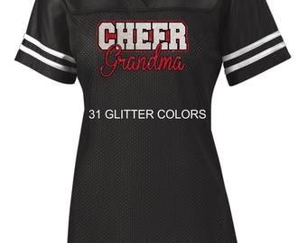 Glitter Cheer Grandma, Nana or Mimi Jersey