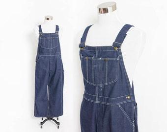 "Vintage 1960s Overalls - Sears Union Made Indigo Denim 80s Workwear 36""x26"" Large"