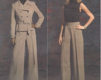 Guy Laroche Womens Military Style Jacket and Wide Leg Pants Epaulets OOP Vogue Sewing Pattern V2922 Size 6 8 10 12 Bust 30 1/2 to 34