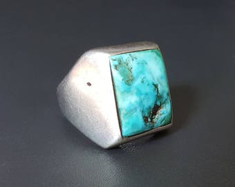 Vintage Men Turquoise Navajo Ring Sterling Silver Size 10 ca 1950s