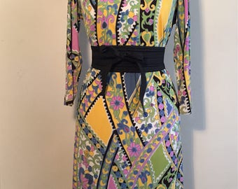 Vintage 60s 70s Psychedelic Dress