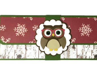 Christmas money card, cash envelope, Christmas money holder, Christmas card, blank card, owl card, Christmas owl card, cash card,