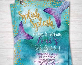 Mermaid Birthday Party, Splish Splash, Our Little Mermaid, Under the Sea Party Any Age Birthday, Digital Download or Prints(Details Below)