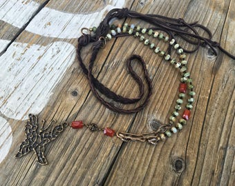 Bohemian Bronze Butterfly Necklace, Handcast Butterfly, Jasper, Carnelian, Buttery Leather Braided Necklace