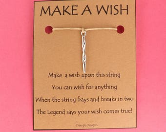 Unicorn Horn Magicaal Wish String Friendship Bracelet Cord Band BFF Stocking Filler Simple Gift Birthday Fits in Greeting Card