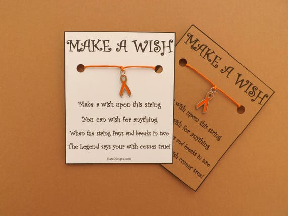 Orange Awareness Ribbon Charity Wish Bracelet  (code: BCB22)