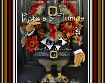 """PRE-Order for """"2017"""" Delivery-Thanksgiving NEW Turkey Wreath-""""Mr Giblet Snood""""-Petals & Plumes ORIGINAL Design© 2 Available"""
