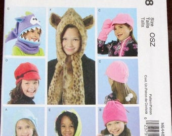 Fashion Accessories Craft Sewing Pattern McCall's 6448 Girls Outerwear, Cowl, Slouchy Hat, Stocking Cap, Mittens Size XS S M L XL Uncut FF