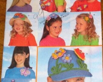 Craft Pattern Butterick 5453 187 No Sew Foam Felt Butterflies Flowers Trim and Decorate Hats Visor Sunglasses Headbands Uncut Factory Folds