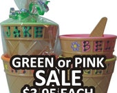 "21 for RI - PINK /GREEN Ice Cream Bowl Personalized Party Favor/ Ice Cream Bowl with Spoon / 4"" wide x 2.5"" tall / Ice Cream Dish"